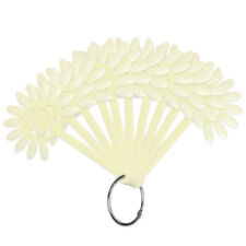 120 Tips White Fan Shaped Flower Design False Nail Art Tips Sticks Wheel Display