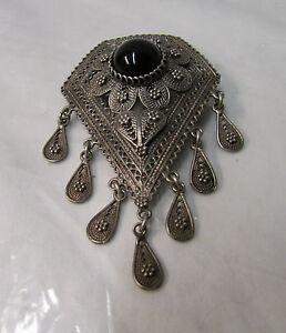 "Antique Israel 925 Sterling Silver w/Onyx Filigree Brooch ~ 2.75"" x 1.75"""