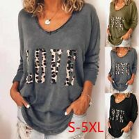 Plus Size Womens T shirt Casual Loose Long Sleeve V-Neck Leopard Print Basic Top