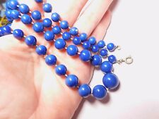 Graduated Blue Beaded Necklace Vintage