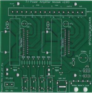 7.1 Surround Power Amp TDA7851A 8 x 40W install in PC drive bay PCB DIY v2.03