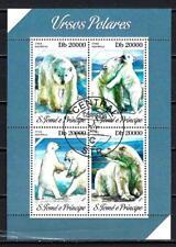 Animales Osos Saint Thomas y Príncipe (224) completo 4 sellos matasellados hoja