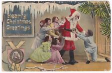 Postcard Christmas Thin Santa Children Begging Very Unusual Theochrome B9