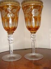 Vintage Bohemian Amber Crystal Amber Glass Cordials  Glass  Cut to Clear Set 2