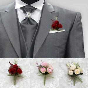 1PC Bride Bridesmaid Artificial Flowers Wrist Corsage Groom Boutonniere Wedding