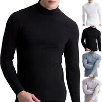 Herren Warm T-Shirt Langarm Rollkragenpullover Unterhemd Stehkragen T-Shirts
