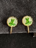 Vintage Estate Gold Tone Hand Painted Green Owl Lucite Clip Earrings