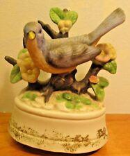 vintage ceramic blue bird music box made in Taiwan