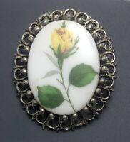 Vintage yellow rose  flower cameo brooch & Pendant