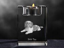 Shih Tzu, Kristall-Kerzenleuchter mit Hund, Crystal Animals DE