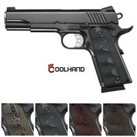 Coolhand Full Size 1911 G10 Grips Ambi Safety Mag Release Hold in Texture H1-T