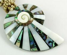 "Handmade 2.4"" Abalone Shell Mother of Pearl Shiva Eye Beads necklace 19"" ; EA209"