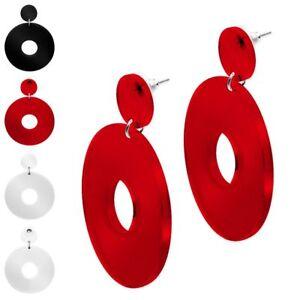 Armreif und Ohrstecker als Set rot weiß schwarz Punkte Glitzer 80er Jahre Retro