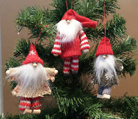 Knitted & Wood Father Christmas Santa Hanging Tree Decorations Vintage Chic Wool