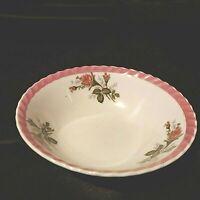 "Vintage Serving Bowl Dark Pink Rim and Roses Made in Japan  7"" Preowned"