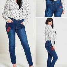 WOMENS LADIES CURVY STRETCHY EMBROIDERY FLORAL DENIM SKINNY JEANS PLUS SIZE10-22