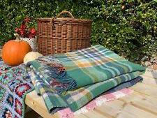 Vintage Reversible Heavy Picnic Rug Thick Chunky Blanket Checked Rustic Throw