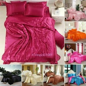 Silk Soft Satin King Queen Size Quilt Cover Sets Bed Sheets Bedspreads Soft