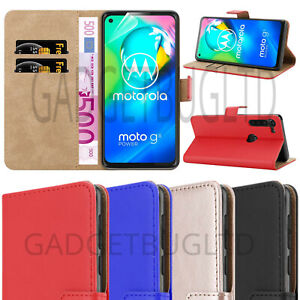 CASE FOR MOTOROLA MOTO G8 POWER REAL GENUINE LEATHER COVER WALLET FLIP MAGNETIC