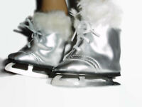 Silver Ice Skates with Fur 18 inch Doll Clothes Fits American Dolls