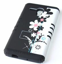 For Alcatel One Touch Fierce XL - HYBRID IMPACT ARMOR CASE BLACK WHITE FLOWERS