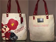 Coach Poppy Chan Cherry Red & White Sequin Glitter Canvas Tote Bag Purse