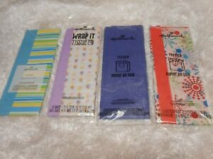 ✨ New lot 4 packs Hallmark Tissue Wrap paper multicolored designs all occasions