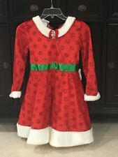 Girls Minnie Mouse Dress size 10-12 RED Faux Fur Trim Authentic Disney Parks NEW