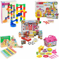 ASSORTED KIDS TOYS Playdough, Marble Game, Cash Register, Wood Bricks, Tea House