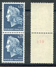 TIMBRE FRANCE NEUF ROULETTE N° ROUGE N° 1535a ** MARIANNE DE CHEFFER COTE + 75 €