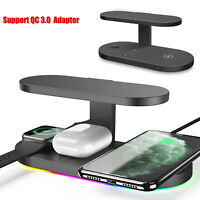 5IN1 QI Fast Wireless Charger UV Light Charging Dock For iPhone SE2/Samsung S20