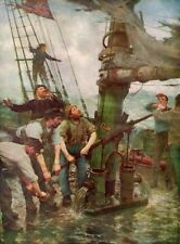 HENRY TUKE 1889 Oil Painting ALL HANDS TO THE PUMPS Vintage Art 1930 Book Print