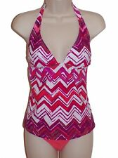 Island Escape tankini set swimsuit size 12 coral halter shaper pant nwt new