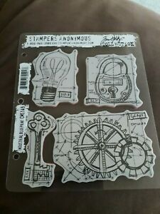 Tim Holtz Stampers Anonymous Industrial Blueprint Red Rubber Stamps CMS149