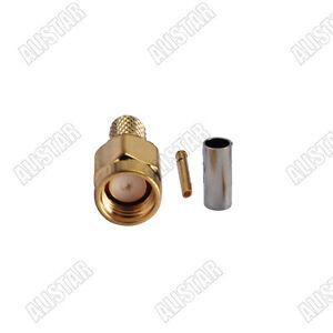 5x RP-SMA Male Crimp (female pin) for RG58 RG400 LMR195 RG142 RF Coax Connector