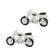 Silver Black Motorcycle Cufflinks Motorbike Cuff Links Genuine UK Seller