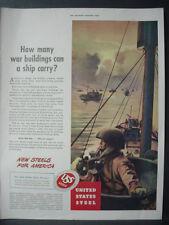 1943 United States Steel WW2 War Ships Troop Carriers Vintage Print Ad 11968