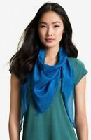EILEEN FISHER Scarf Whisper Silk Wrap Marine Blue Beaded Fringed  Edge  $138 NWT