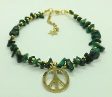 Peace Charm Anklet Ankle Bracelet Malachite Gemstone Chips Gold Tones