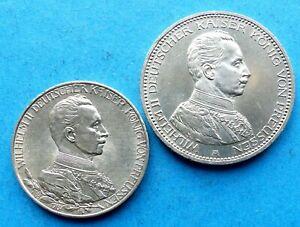 ! PREUSSEN Silber 2x, 5 Mark 1914 A Wilhelm II Uniform 3 M 1913 25 Ja Regierung