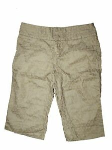 New Women Anthropologie Idra Linen Gold/Brown Floral Motif Bermuda Shorts Size 2
