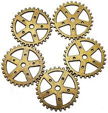 "5 x 1"" Steampunk Gears Pieces Antique Brass Lot Watch Parts Clock Wheels"