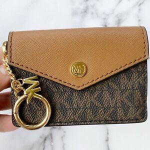 Michael Kors Kala Keychain Card Case Brown MK Signature PVC Leather