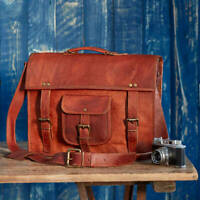 Bag Goat Leather Laptop Vintage Messenger Men Briefcase Shoulder Brown Men's New