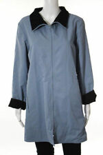 Eileen Fisher blue funnel neck jacket XL zip front reversible - black wool crepe