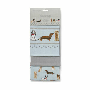 Tea Towels Curious Dogs Multi-Colour Pack of 3 from Cooksmart