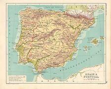 1891 mapa España & Portugal Victoriano ~ ~ Leon vieja Castilla Galicia Granada