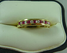 FABULOUS 18K/CT YELLOW GOLD RUBY AND DIAMOND SET RING NEW IN BOX