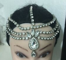 Silver Three Row Crystal Indian Matha Patti Tikka Head Chain Jewellery Bridal 1