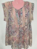 Daniel Rainn Blouse Size Lg Cream Multi Color Paisley Print Key Hole Crochet Top